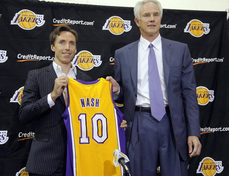 Newly acquired Los Angeles Lakers guard Steve Nash, left, holds his new jersey with general manager Mitch Kupchak at a news conference at the basketball team's headquarters in El Segundo, Calif., Wednesday, July 11, 2012. The Lakers acquired two-time MVP Nash from the Phoenix Suns in exchange for first round draft picks in 2013 and 2015 as well as second round draft picks in 2013 and 2014, Kupchak said. (AP Photo/Reed Saxon)
