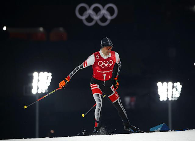 Nordic Combined Events - Pyeongchang 2018 Winter Olympics - Men's Team 4 x 5 km Final - Alpensia Cross-Country Skiing Centre - Pyeongchang, South Korea - February 22, 2018 - Wilhelm Denifl of Austria competes. REUTERS/Carlos Barria
