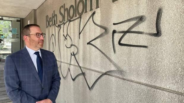 Rabbi Aaron Flanzraich in front of the Beth Sholom Synagogue, which was vandalized with antisemitic graffiti on Wednesday. (Michael Cole/CBC - image credit)