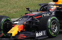 Red Bull driver Max Verstappen of the Netherlands steers his car during the Hungarian Formula One Grand Prix at the Hungaroring racetrack in Mogyorod, Hungary, Sunday, Aug. 1, 2021. (AP Photo/Darko Bandic)