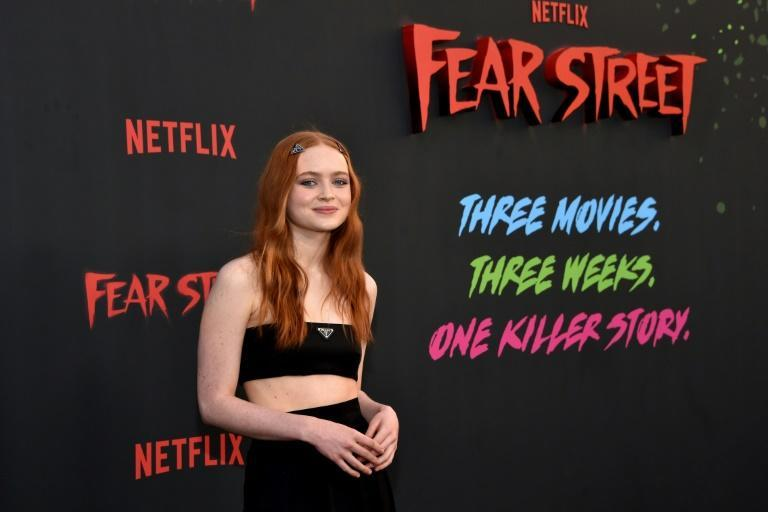 """Actress Sadie Sink arrives for the Netflix premiere of """"Fear Street Trilogy"""" at the LA Historic Park in Los Angeles on June 28. Netflix said its quarterly results reflected """"choppiness"""" from trends stemming from the pandemic"""