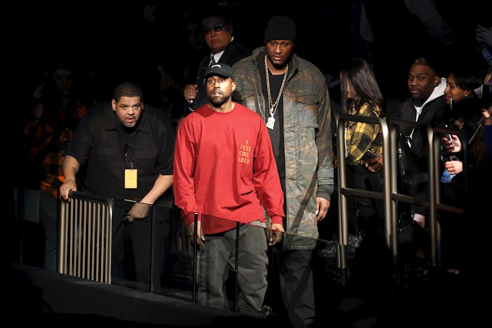 """Kanye West (C) and Lamar Odom arrive at Kanye West's Yeezy Season 3 presentation and listening party for the new """"The Life of Pablo"""" album during New York Fashion Week February 11, 2016. REUTERS/Andrew Kelly  TPX IMAGES OF THE DAY"""