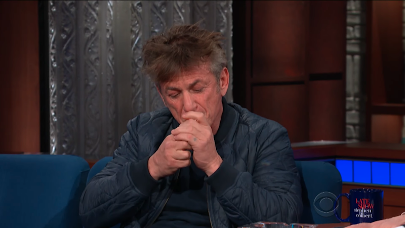 Sean Penn lit up a cigarette during an interview with Stephen Colbert. Source: YouTube / The Late Show with Stephen Colbert