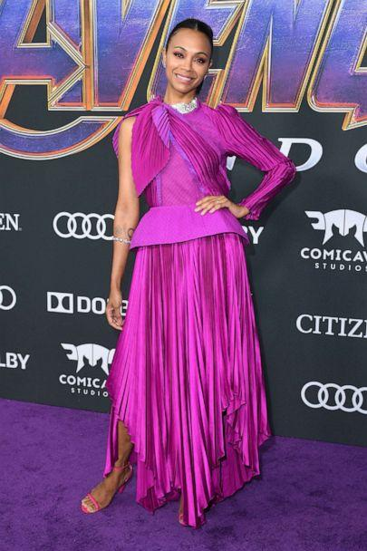 PHOTO: Zoe Saldana arrives for the World premiere of Marvel Studios' 'Avengers: Endgame' at the Los Angeles Convention Center on April 22, 2019 in Los Angeles. (Valerie Macon/AFP/Getty Images)