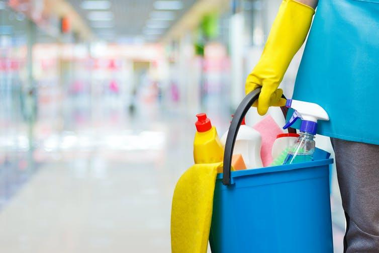 """<span class=""""caption"""">Cleaning during the pandemic.</span> <span class=""""attribution""""><a class=""""link rapid-noclick-resp"""" href=""""https://www.shutterstock.com/image-photo/cleaning-lady-bucket-products-on-blurred-752459383"""" rel=""""nofollow noopener"""" target=""""_blank"""" data-ylk=""""slk:Shutterstock/natali_mis"""">Shutterstock/natali_mis</a></span>"""