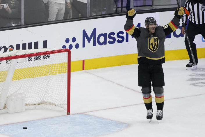 Vegas Golden Knights left wing Max Pacioretty (67) celebrates after scoring against the Colorado Avalanche during the third period in Game 6 of an NHL hockey Stanley Cup second-round playoff series Thursday, June 10, 2021, in Las Vegas. (AP Photo/John Locher)