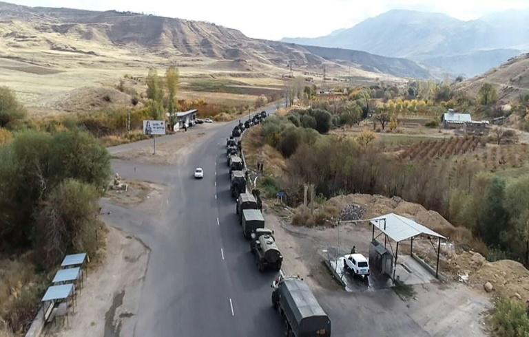 This handout picture released by the Russian Defence Ministry on Saturday shows military vehicles of the Russian peacekeeping forces outside of Stepanakert in Nagorno-Karabakh