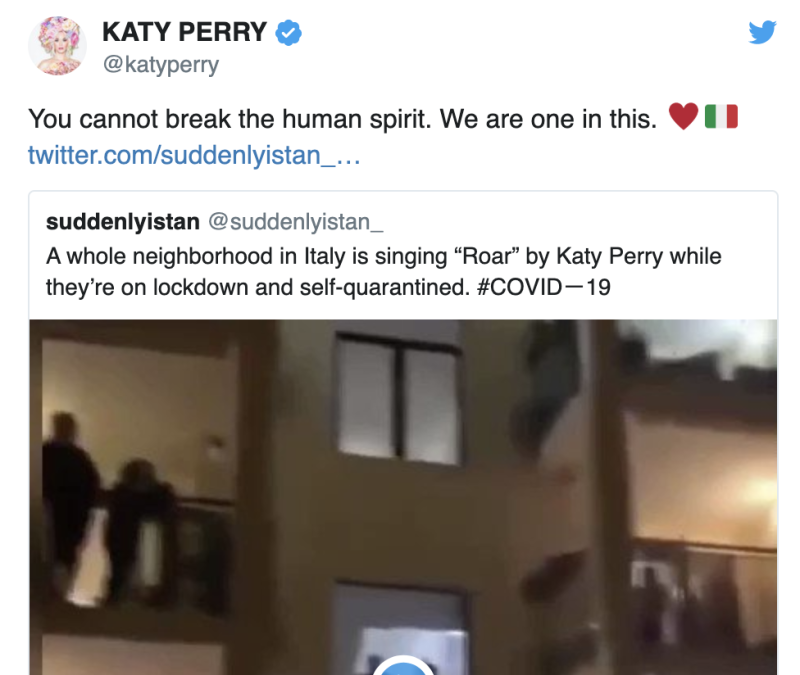 Italians Aren't Really Singing Katy Perry and Madonna From Their Balconies