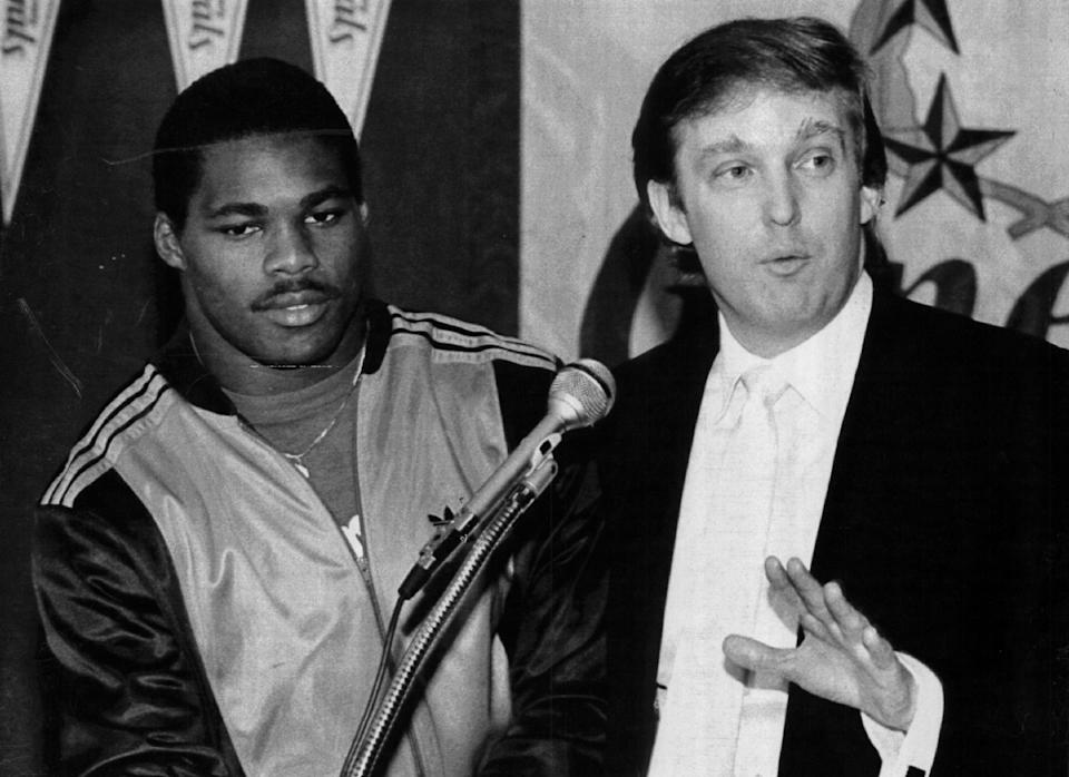 Donald Trump and Herschel Walker during the brief glory days of the USFL. (Getty Images)
