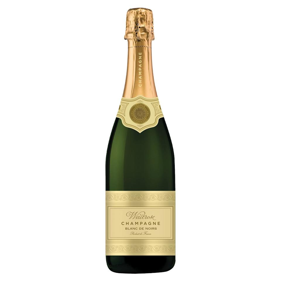 """<p><strong>Overall score: 84/100</strong></p><p>Our winning Champagne is extremely smooth and beautifully balanced. Delicate baked green apple and yeasty brioche aromas are accompanied by a crisp and refreshing flavour, consisting of notes of apple, tropical fruit, vanilla and marmalade. The bubbles are small, lively and super smooth. This champagne would pair well with a fish-based starter or canapés.</p><p><a class=""""body-btn-link"""" href=""""https://go.redirectingat.com?id=127X1599956&url=https%3A%2F%2Fwww.waitrosecellar.com%2Fwaitrose-blanc-de-noirs-brut-nv-083801--1&sref=https%3A%2F%2Fwww.goodhousekeeping.com%2Fuk%2Ffood%2Ffood-reviews%2Fg23926133%2Fbest-champagne-christmas%2F"""" target=""""_blank"""">BUY NOW</a> <strong>Waitrose, £23.99 per 75cl</strong></p>"""