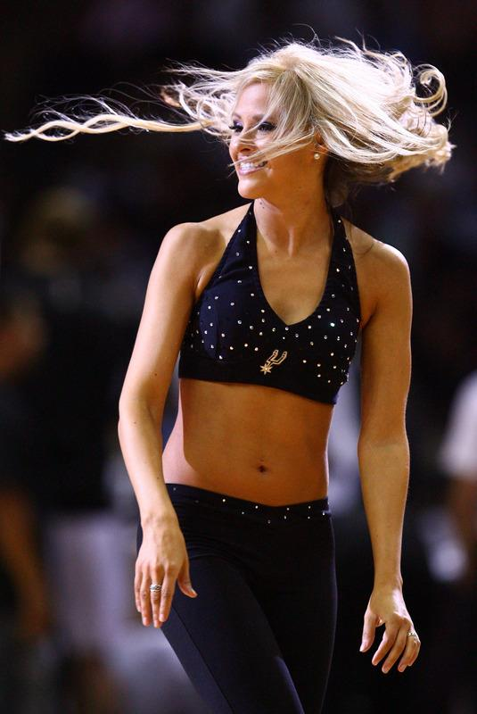 SAN ANTONIO, TX - MAY 29:  A San Antonio Spurs dancer performs during a break in the game against the Oklahoma City Thunder in Game Two of the Western Conference Finals of the 2012 NBA Playoffs at AT&T Center on May 29, 2012 in San Antonio, Texas. NOTE TO USER: User expressly acknowledges and agrees that, by downloading and or using this photograph, user is consenting to the terms and conditions of the Getty Images License Agreement.  (Photo by Ronald Martinez/Getty Images)