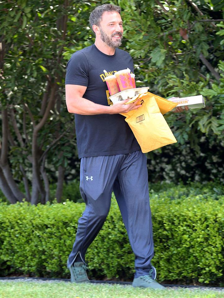 <p>We have never seen anyone as happy as Ben Affleck picking up his Dunkin' Donuts order. Maybe we should call him <em>Bean</em> Affleck? Or perhaps Ben<em> Caff</em>leck?</p>