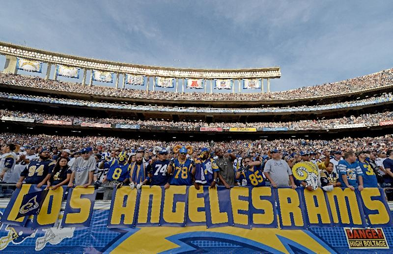 """Fans of the St. Louis Rams hold a """"Los Angeles Rams"""" sign at one of the team's NFL games in San Diego"""