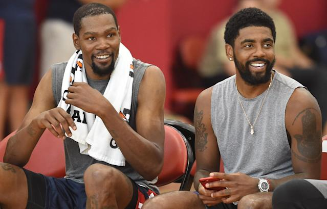 Kevin Durant has called USA Basketball teammate Kyrie Irving one of his best friends. (Getty Images)