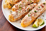 """<p>Skip the skewer and make this popular Mexican street food right on the grill.</p><p>Get the recipe from <a href=""""https://www.delish.com/cooking/recipe-ideas/recipes/a47269/mexican-street-corn-elote-recipe/"""" rel=""""nofollow noopener"""" target=""""_blank"""" data-ylk=""""slk:Delish"""" class=""""link rapid-noclick-resp"""">Delish</a>.</p>"""