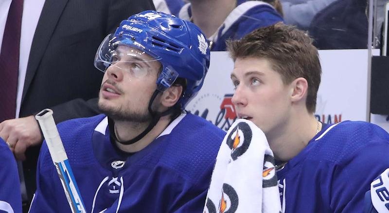 Matthews, left, and Marner have developed a special bond on and off the ice. (Tom Szczerbowski-USA TODAY Sports)