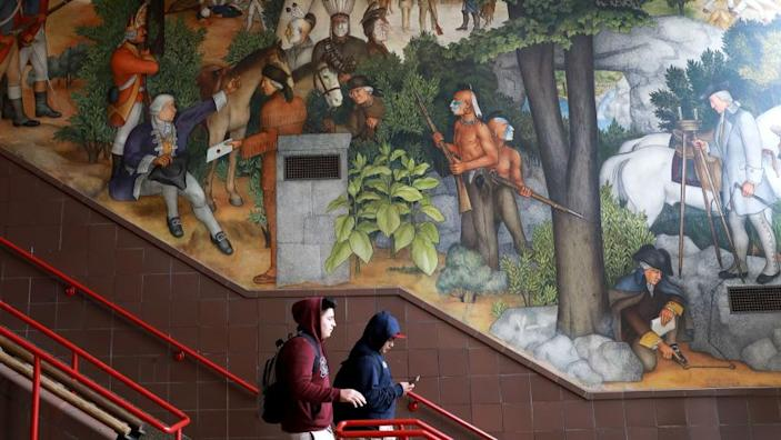 San Francisco school officials are expected to decide whether to destroy or keep the historic mural at George Washington High School, photographed in San Francisco, Calif., on Wednesday, April 3, 2019. The historic mural depicts the treatment of American Indians and African Americans. (Yalonda M. James/San Francisco Chronicle)