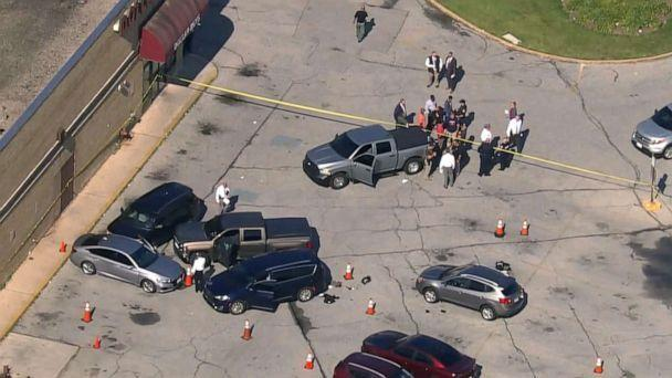 PHOTO: Authorities on the scene in Baltimore where two police officers were shot, July 13, 2021. (WJLA)