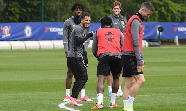 "<span class=""element-image__caption""><strong>Eden Hazard is all smiles in training as Chelsea prepare for their trip to Goodison Park</strong></span> <span class=""element-image__credit"">Photograph: Darren Walsh/Chelsea FC via Getty Images</span>"