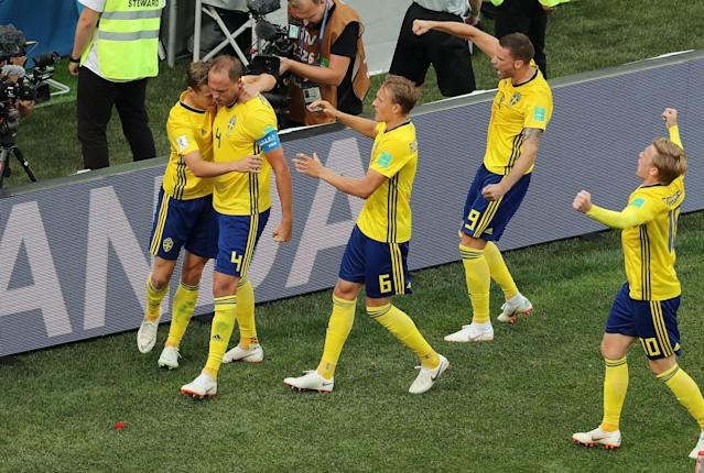Soccer Football - World Cup - Group F - Sweden vs South Korea - Nizhny Novgorod Stadium, Nizhny Novgorod, Russia - June 18, 2018 Sweden's Andreas Granqvist celebrates scoring their first goal with team mates REUTERS/Lucy Nicholson