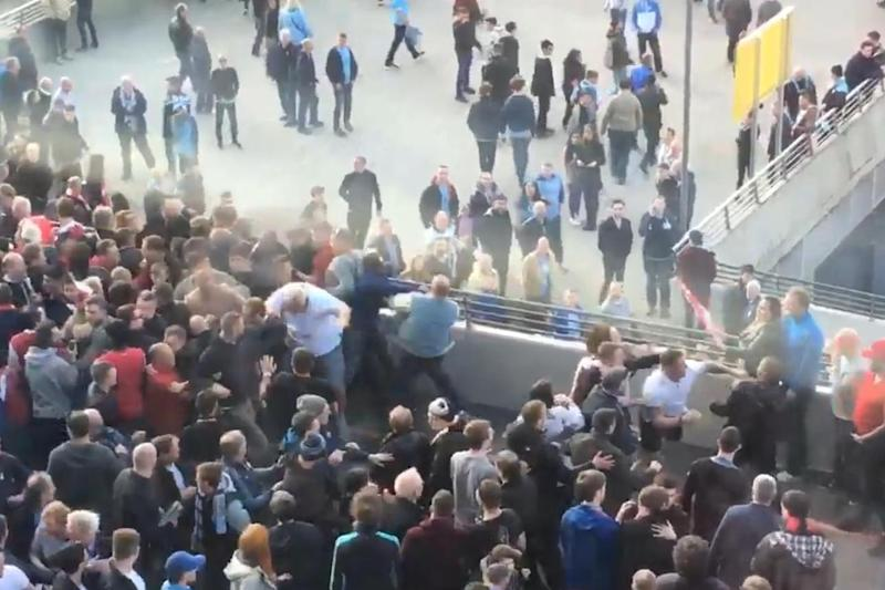 Shameful: Fighting broke out after the match (Liam Edwards)