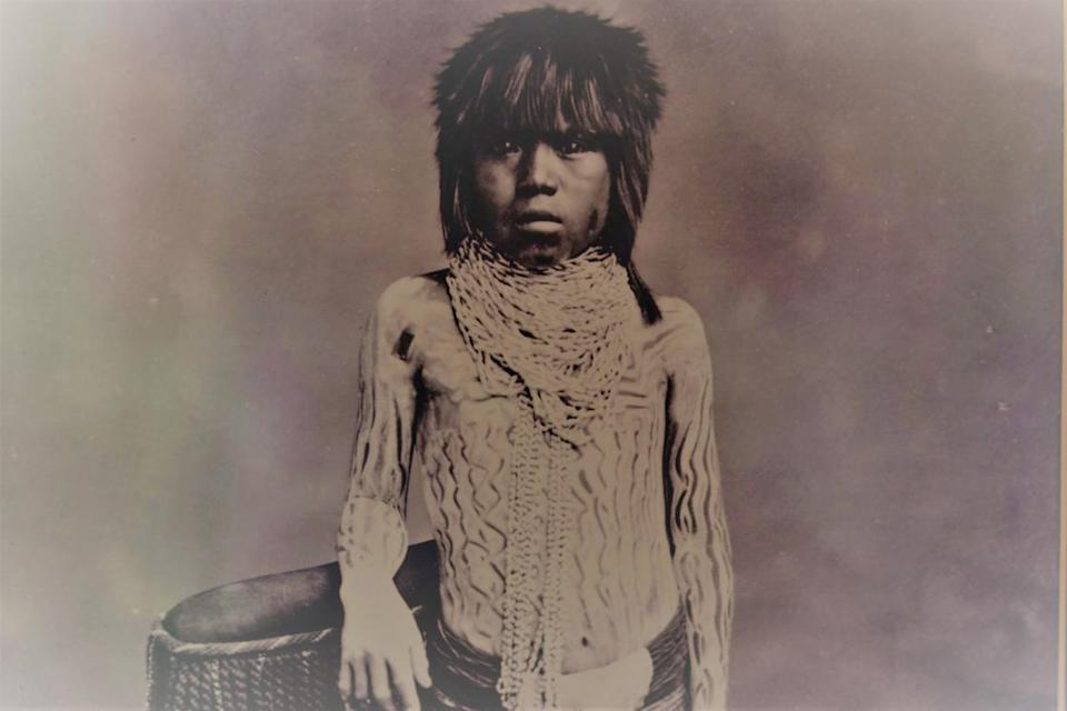 Image: A photograph of a Cucapa child, taken in 1900, exhibited at the Cucapa Community Museum, in Baja California, April 2021.