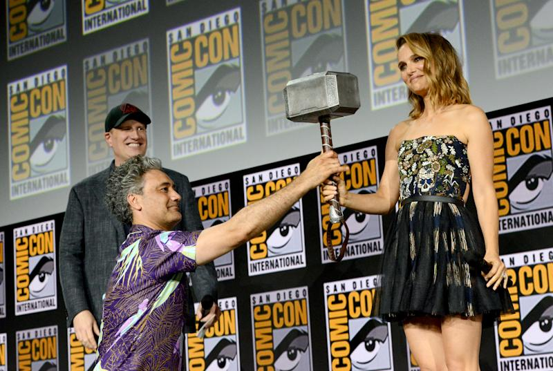 Kevin Feige, Taika Waititi and Natalie Portman speak at the Marvel Studios Panel during 2019 Comic-Con International. (Photo by Albert L. Ortega/Getty Images)