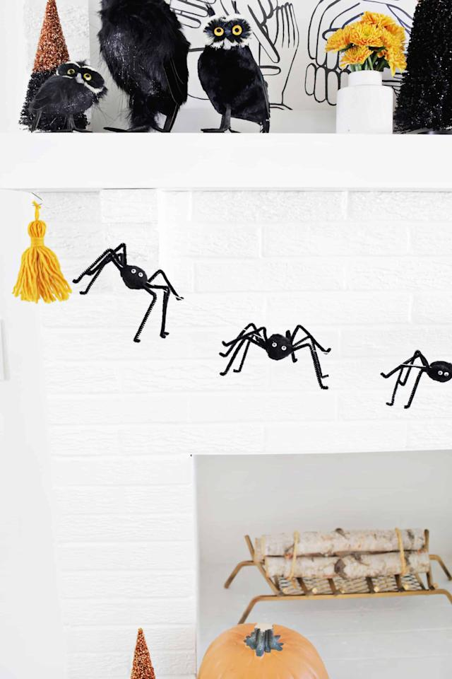"""<p>Turn your home into a web of <a class=""""sugar-inline-link ga-track"""" title=""""Latest photos and news for Halloween"""" href=""""https://www.popsugar.com/Halloween"""" target=""""_blank"""" data-ga-category=""""internal click"""" data-ga-label=""""https://www.popsugar.com/Halloween"""" data-ga-action=""""body text link"""">Halloween</a> decor galore when you display this cute <a href=""""https://abeautifulmess.com/easy-spider-garland-diy/"""" target=""""_blank"""" class=""""ga-track"""" data-ga-category=""""internal click"""" data-ga-label=""""https://abeautifulmess.com/easy-spider-garland-diy/"""" data-ga-action=""""body text link"""">spider garland</a>.</p>"""