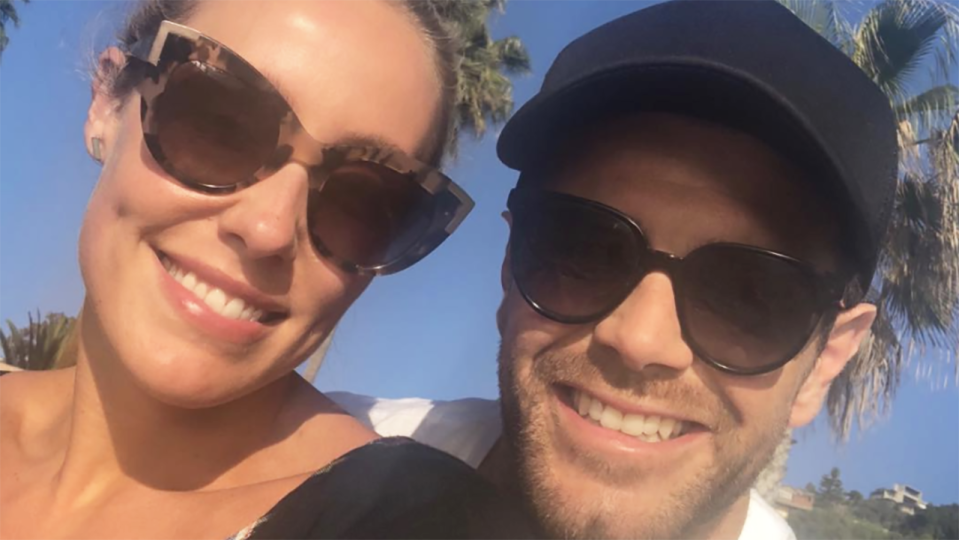 Brooke and Trent Cotchin are pictured in a selfie from Instagram.