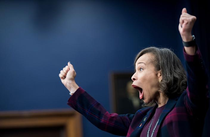 Rep.-elect Lisa Blunt Rochester (D-Del.) reacts after drawing the No.4 chip during the New Member Orientation Room Lottery Draw for office space at the Capitol on Dec. 1, 2016.