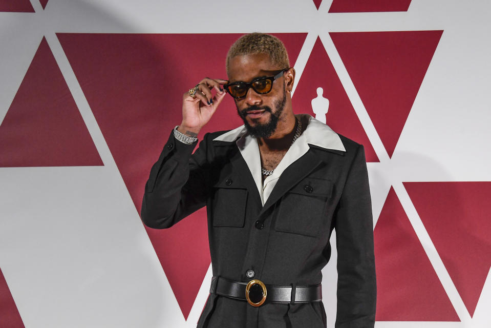 Lakeith Stanfield arrives at a screening of the Oscars on Monday, April 26, 2021 in London. (AP Photo/Alberto Pezzali, Pool)