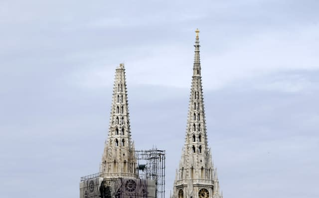 One of the damaged spires, left, of Zagreb's iconic cathedral (Darko Bandic/AP)