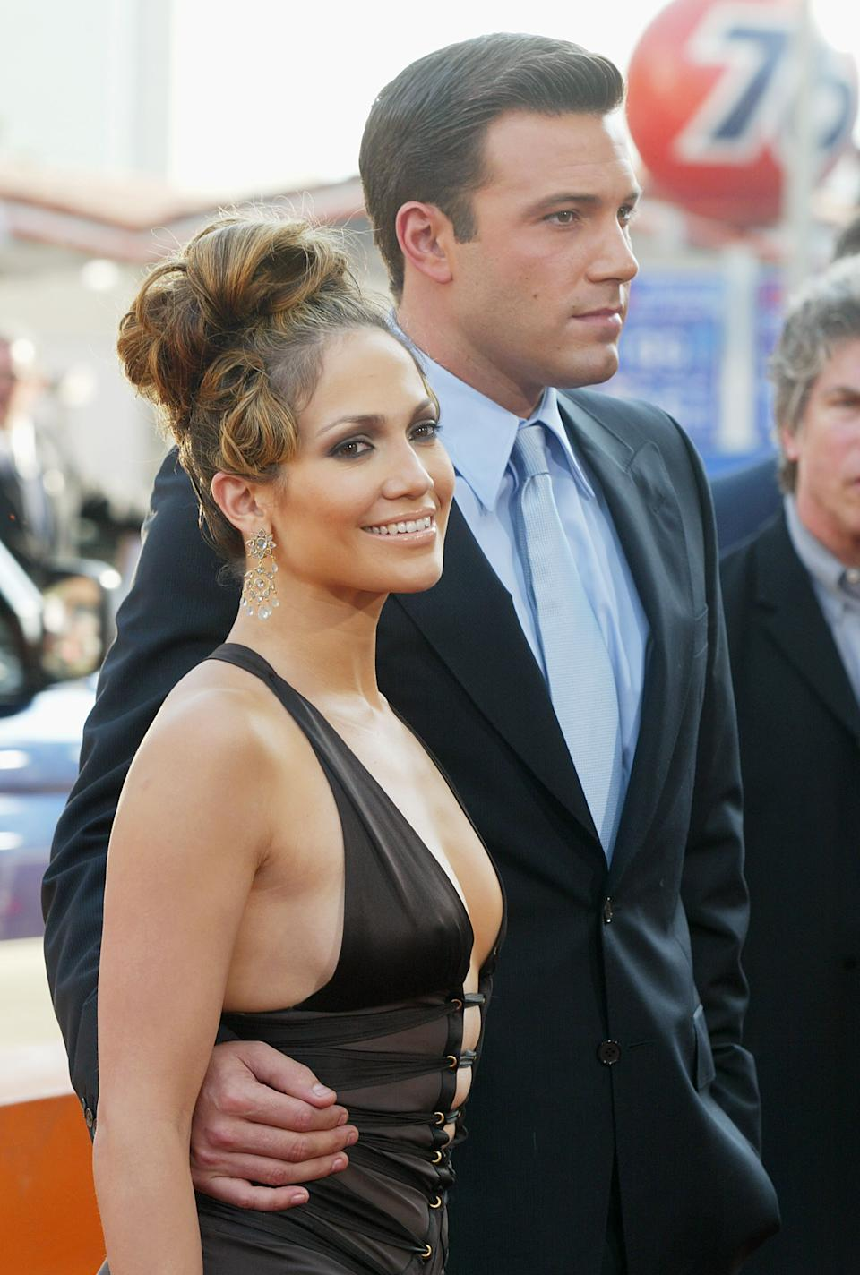 Jennifer Lopez and actor Ben Affleck attend the premiere of 'Gigli' at the Mann National Theatre on July 27, 2003 in Westwood, California. (Getty Images)