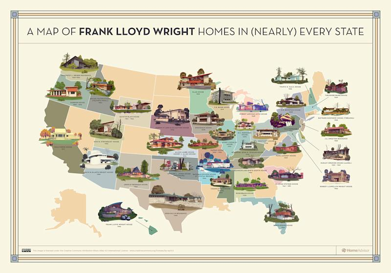 Illustrated map of Frank Lloyd Wright house across the United States