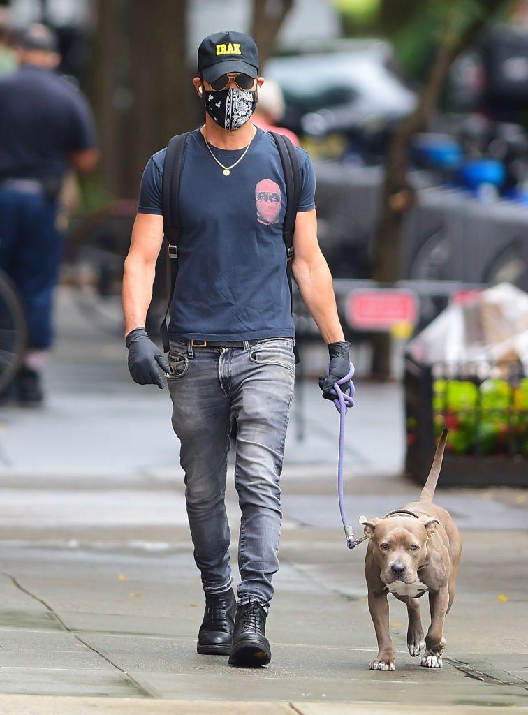 <p>The actor walked his dog while wearing a mask in New York City.</p>
