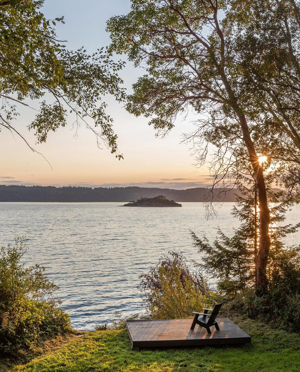 <p>A dock on the edge of property provides the best possible view of sunsets over the lake.</p>