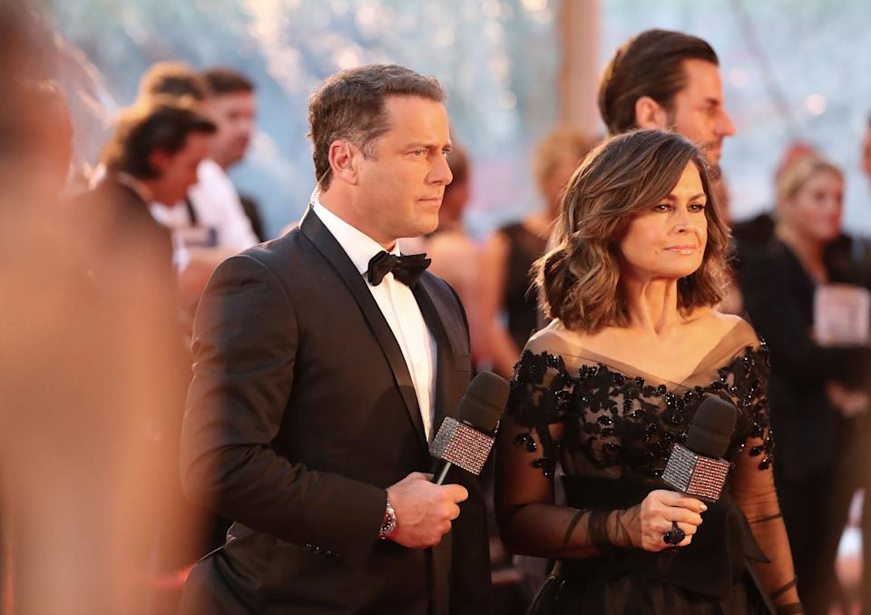 Karl Stefanovic and Lisa Wilkinson arrive at the 59th Annual Logie Awards at Crown Palladium on April 23, 2017 in Melbourne, Australia