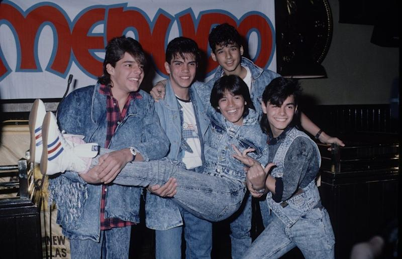 With Menudo in the late 80s, well coordinated with denim!