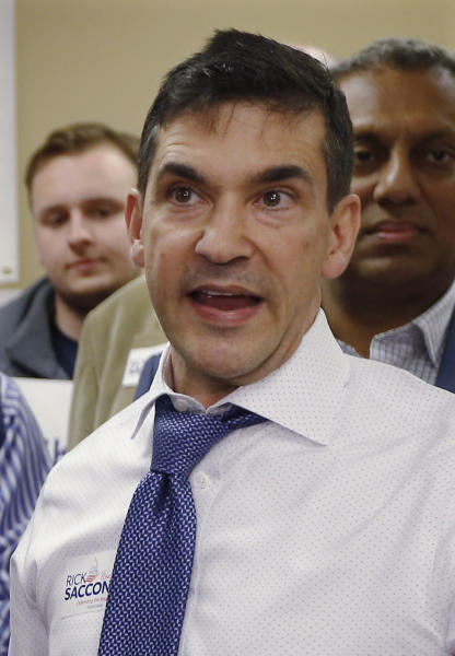 FILE - In this March 9, 2018 file photo, Val DiGiorgio, the Pennsylvania Republican Party chairman, talks with reporters during a campaign stop for Rick Saccone, at the party call center in Pittsburgh. The state G.O.P. announced Tuesday, June 25, 2019 that DiGiorgio is stepping down following a published report that he had traded sexually charged text messages with a Philadelphia City Council candidate and also sent her an explicit photo of himself. (AP Photo/Keith Srakocic, FILE)