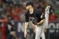 Cleveland Indians starting pitcher Shane Bieber throws against the Los Angeles Angels during the first inning of a baseball game in Anaheim, Calif., Monday, Sept. 9, 2019. (AP Photo/Chris Carlson)