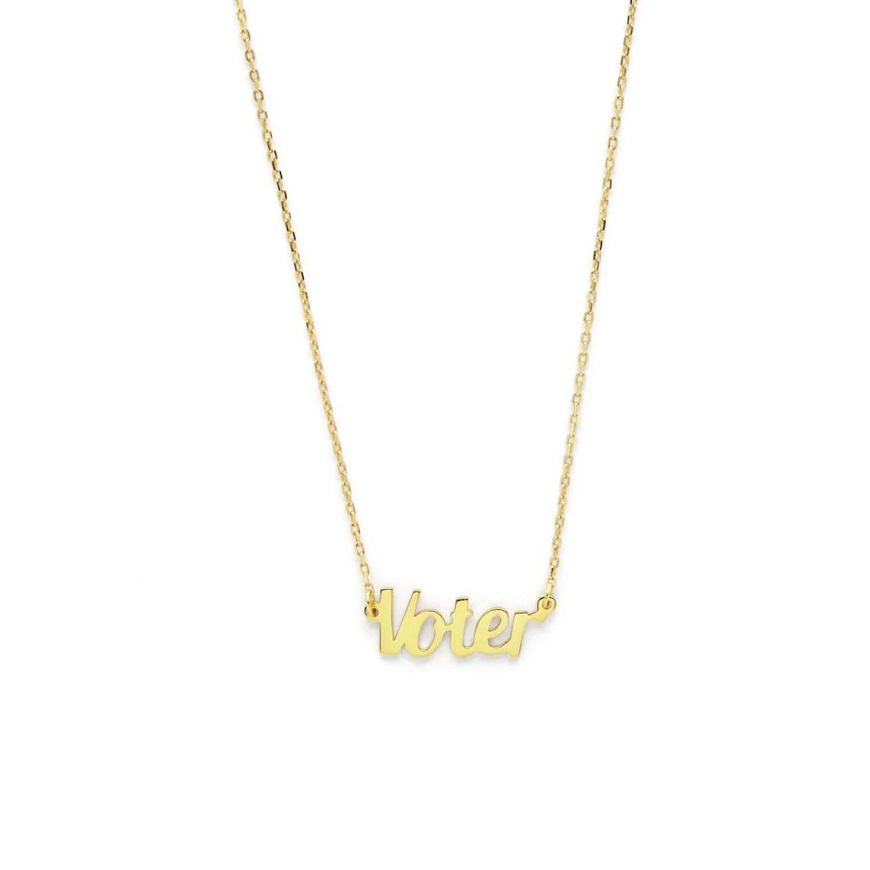 """Get the <a href=""""https://www.stellaandbow.com/products/i-am-a-voter-x-stella-and-bow"""" target=""""_blank"""" rel=""""noopener noreferrer"""">I am a voter x Stella and Bow necklace</a> for $65."""