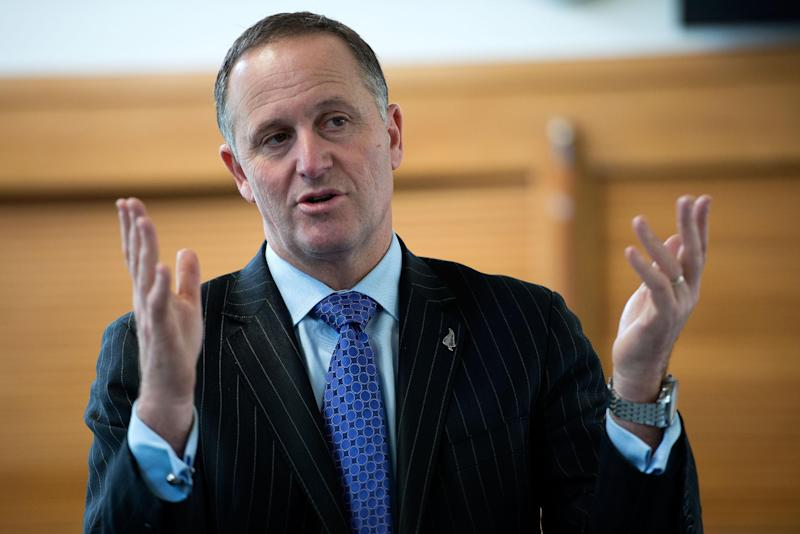 New Zealand Prime Minister John Key speaks to students of Taratahi Agricultural School in Masterton during an election campaign event on August 20, 2014