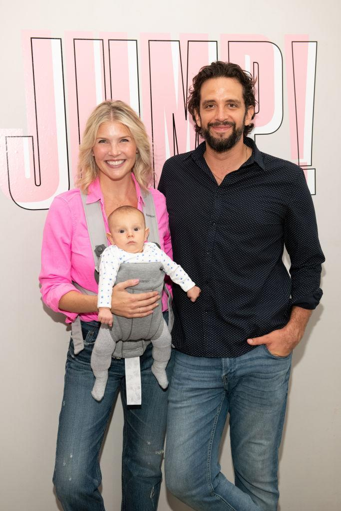 Amanda Kloots, Nick Cordero and baby Elvis pictured in August 2019. (Photo: Noam Galai/Getty Images for Beyond Yoga)