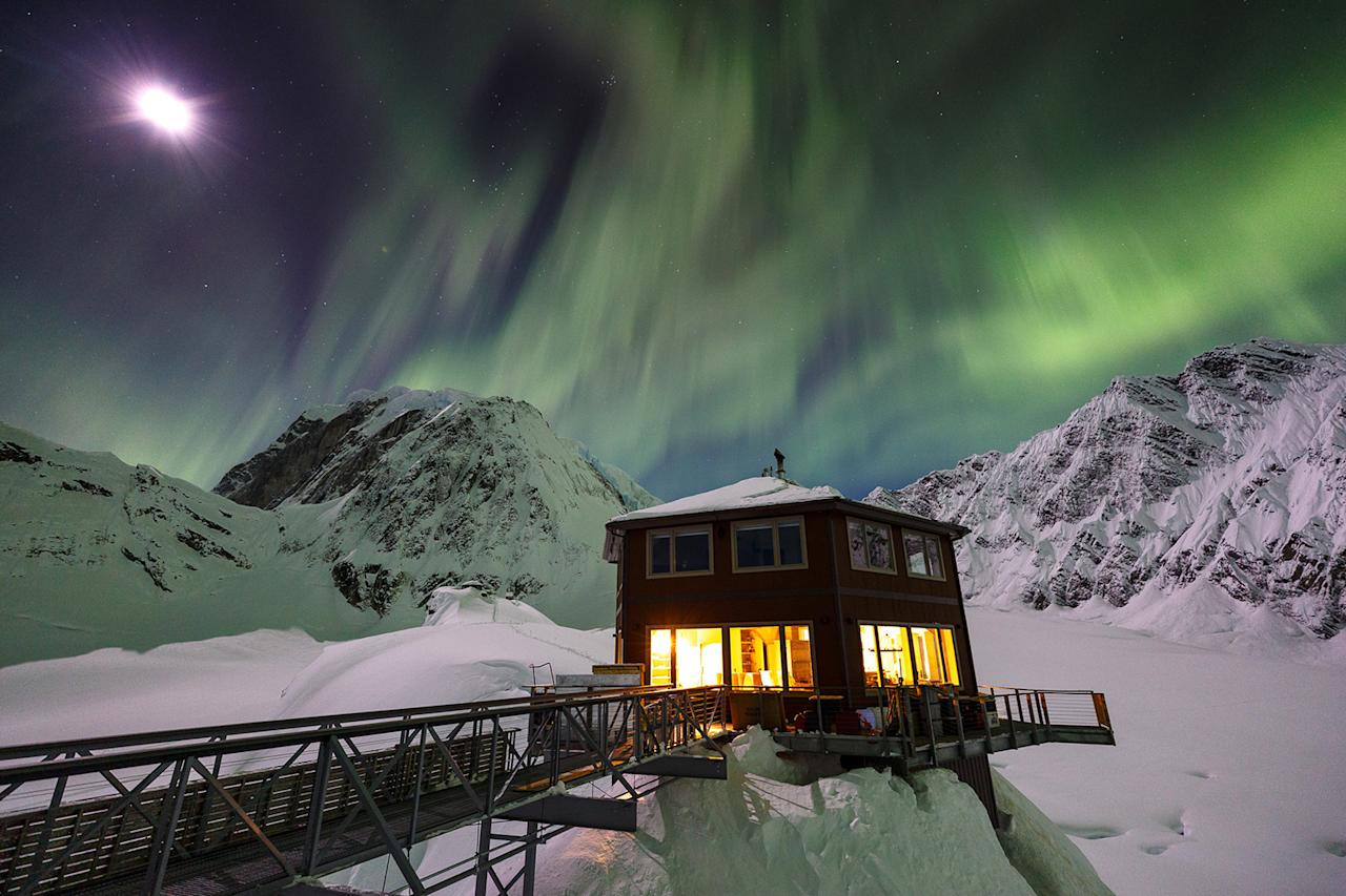 No need for tablet or smartphone entertainment here. The Northern Lights put on a celestial show over the chalet.