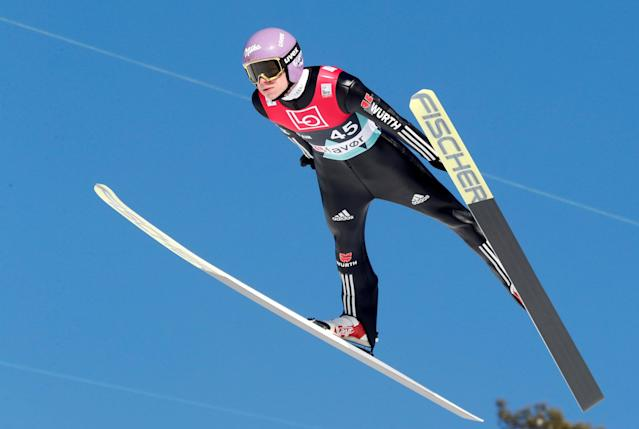 Ski Jumping - FIS World Cup - Men's HS240 Qualification - Vikersund, Norway - March 16, 2018 Andreas Wellinger of Germany in action. Terje Bendiksby/NTB Scanpix/via REUTERS ATTENTION EDITORS - THIS IMAGE WAS PROVIDED BY A THIRD PARTY. NORWAY OUT.