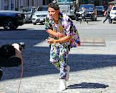 <p>Anthony Ramos wears a colorful matching set while filming out in N.Y.C. on Tuesday.</p>