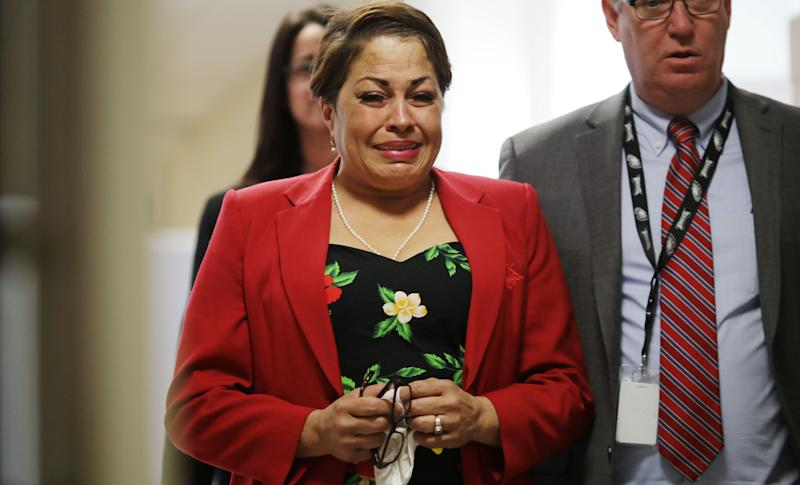 Chelan Lasha cries as she returns to the courtroom on Wednesday. (Photo: Pool via Getty Images)