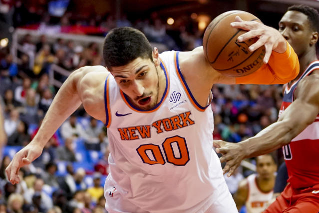 "<a class=""link rapid-noclick-resp"" href=""/nba/players/4899/"" data-ylk=""slk:Enes Kanter"">Enes Kanter</a>'s impressive preseason showing will go well towards his fantasy draft standing. (AP Photo/Andrew Harnik)"
