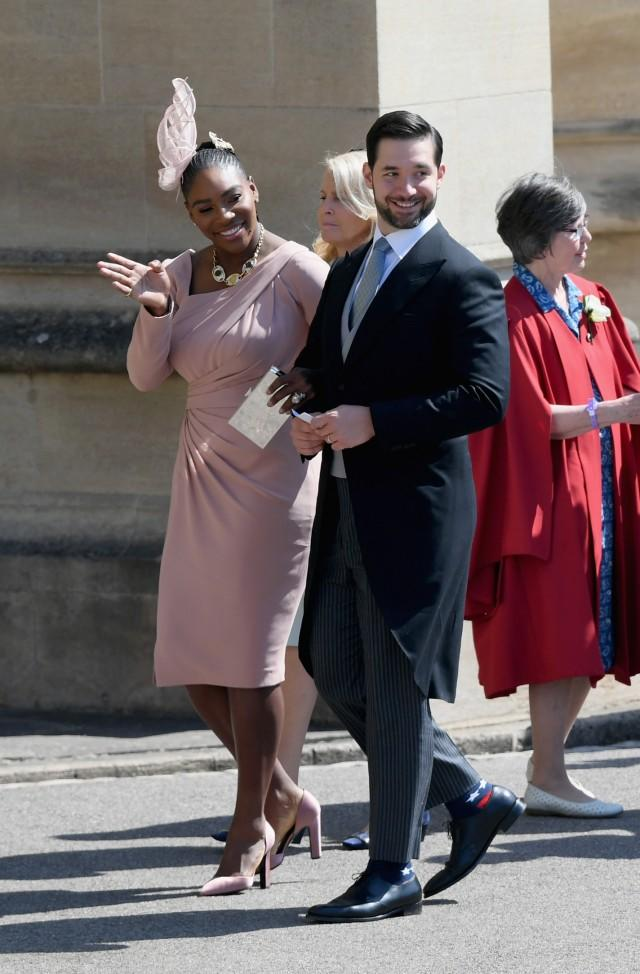 Serena Williams arrives at the royal wedding with husband Alexis Ohanian.