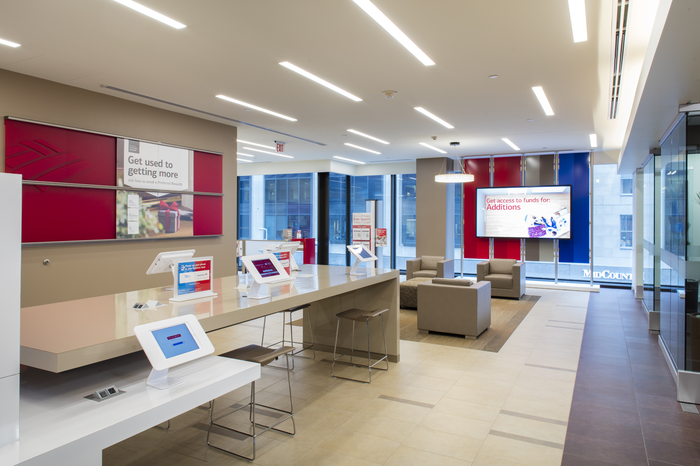 Interior of a modern Bank of America lobby.